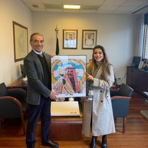 Donato al Consolato del Kuwait di Milano un quadro in onore di Sua Altezza Sheikh Nawaf al-Ahmad <br> al-Jaber al-Sabah
